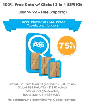 FreedomPop Global GSM SIM with free 200MB of data each month
