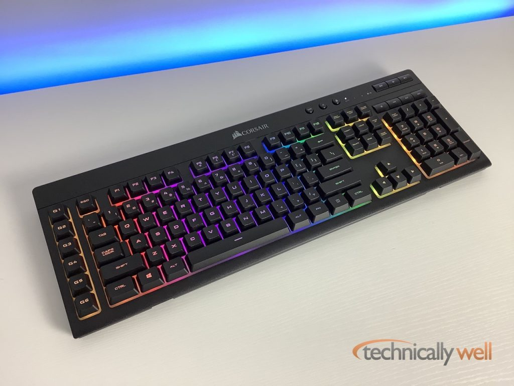 CORSAIR K57 Gaming Keyboard with LEDs on