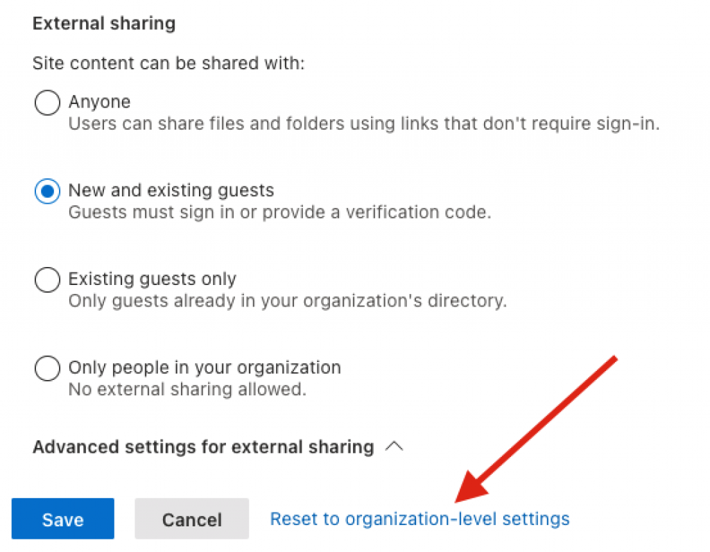 How to reset External Sharing to organization-level