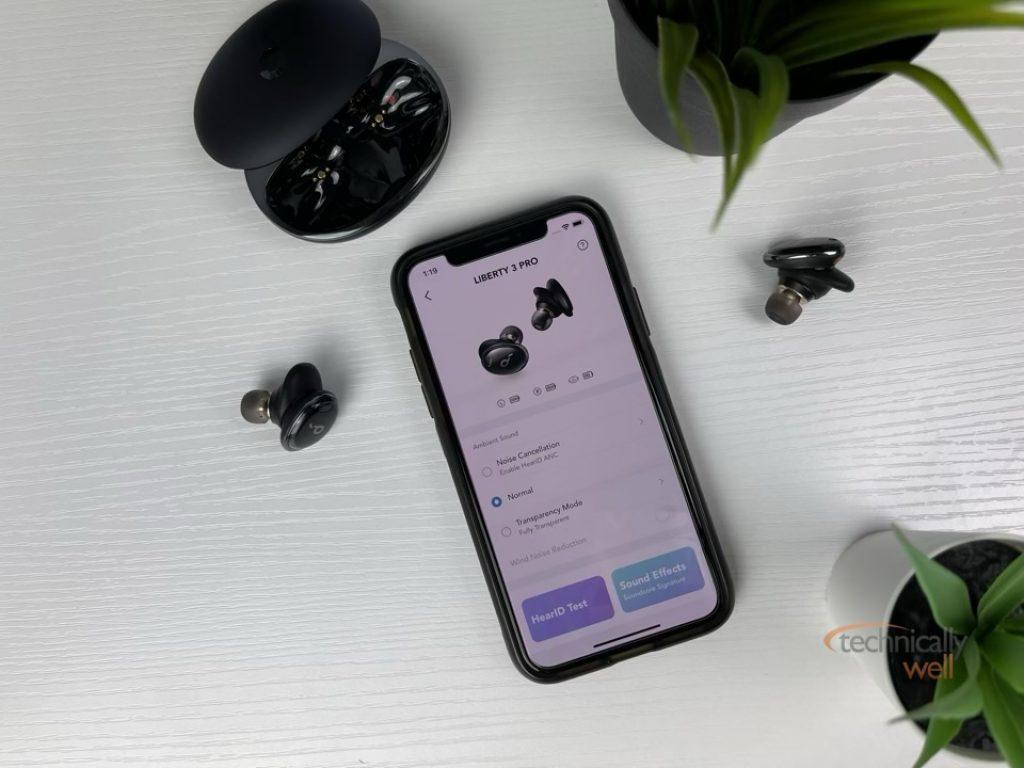 Soundcore App showing Active Noise Cancellation options