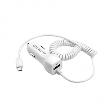 USB Type C Car charger, Getwow Universal Dual USB Car Charger with Built-in 6ft USB C Cable for Galaxy S8 / S8 Plus, LG G6 / G5, Google Pixel, Nexus 6P / 5X, Moto Z and More (White)